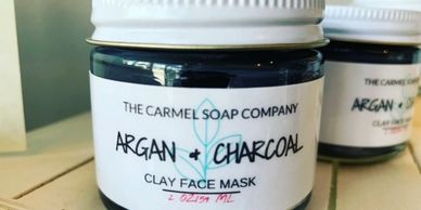 Argan & Charcoal Clay Face Mask made with Argan Oil, Coconut Charcoal, Rhassoul, and Tea Tree Essential Oil