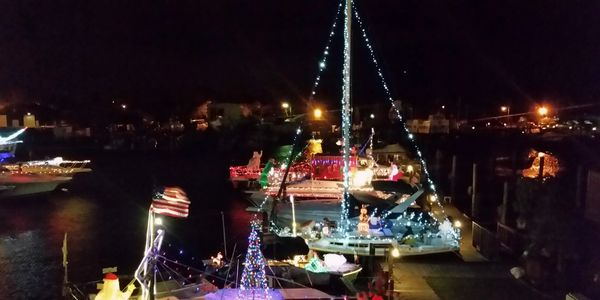 Boat Party Patchogue River OFf Key Tikki Drift 82 The Oar Harbor Crab Boats Christmas Lights Santa Holiday Thanksgiving