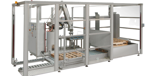 PALLETIZER, ROBOTIC, PALLET LOADING, PALLET MAGAZINE