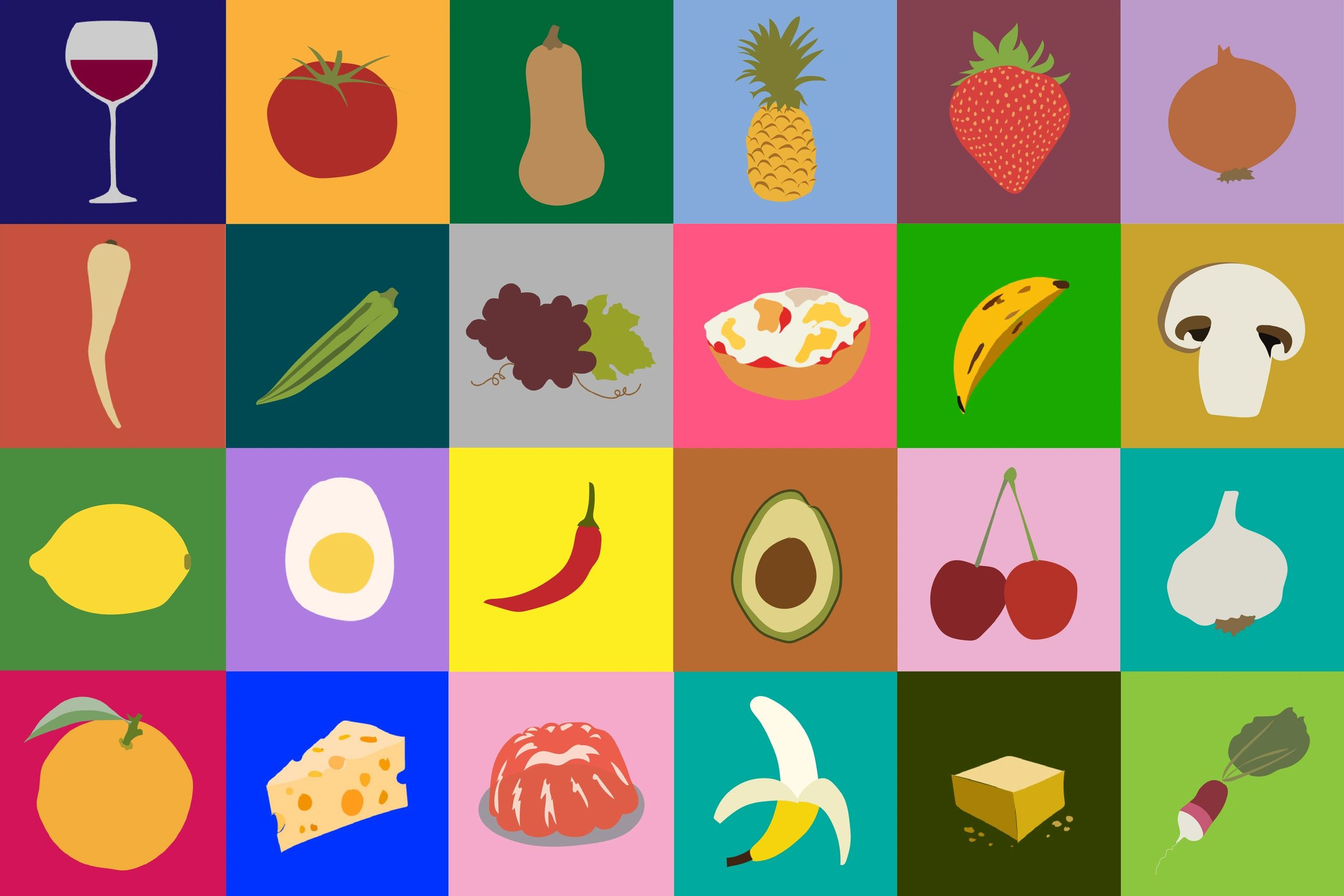 A series of colorful graphic  illustrations of food.