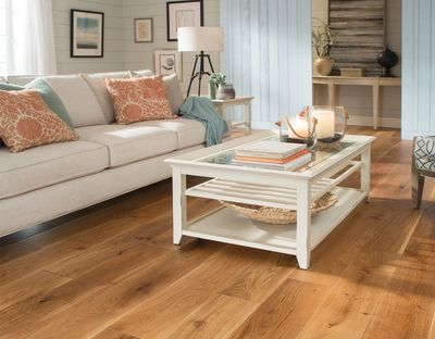 "Mullican Wexford Hardwood Flooring. 7"" Width engineered wire brushed finish.  Very low luster finish"