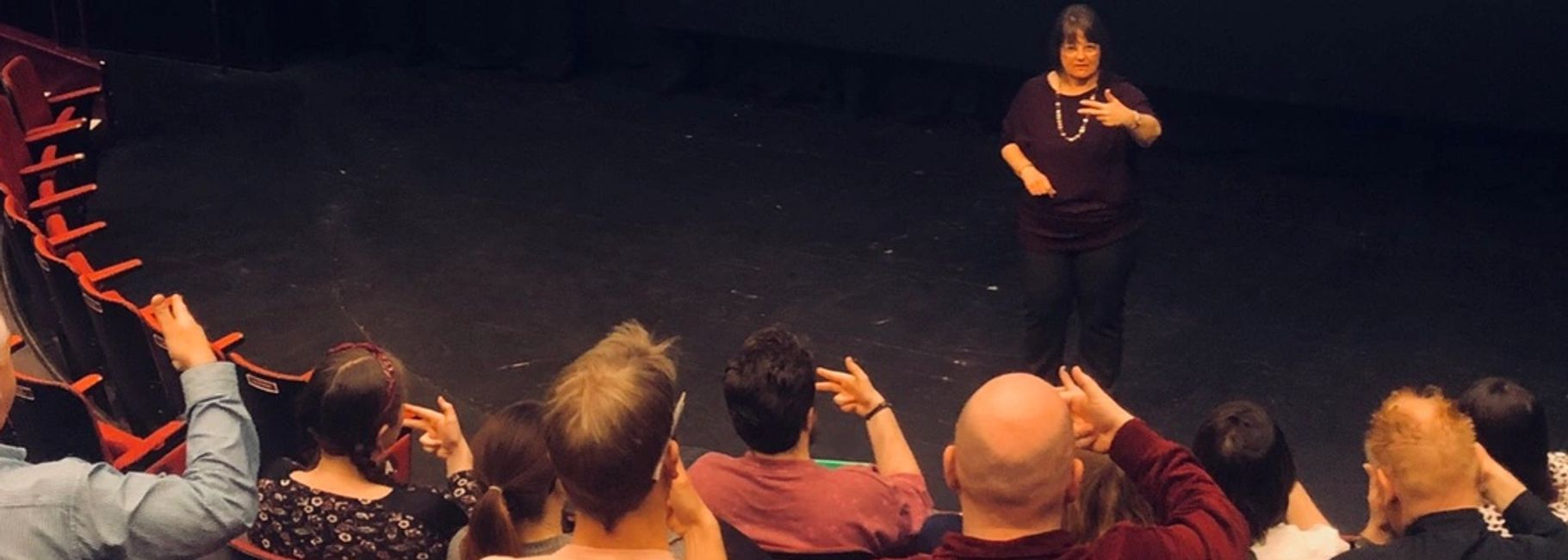 On Stage training to an audience. Collaborative courses which bring together a host of people