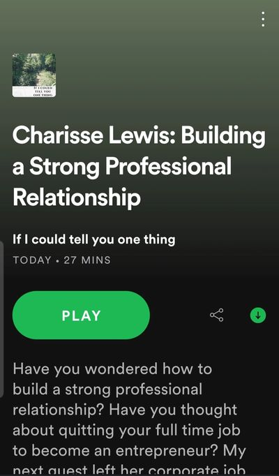 """If I could tell you one thing""  Charisse Lewis, MBA Guest"