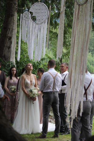 Country wedding atmosphere unlike any other.  Circle of Ancient Cedars wedding vow site.