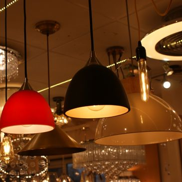 Franklite pendants on display in Oxford Lighting Showroom