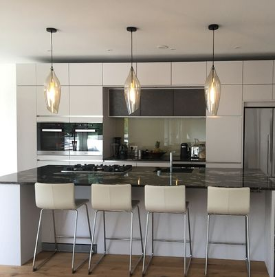 Beautiful pendants by Franklite installed over a customers kitchen Island