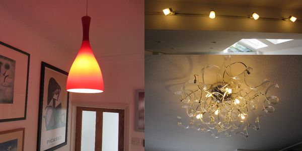 Red tone pendant and ceiling lighting