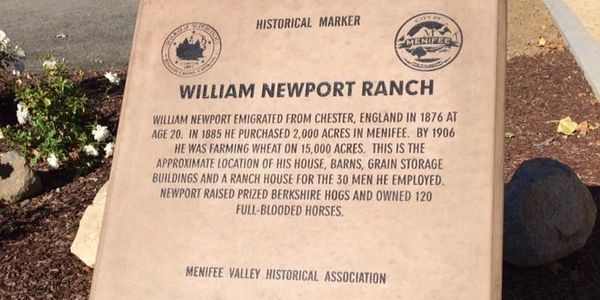 William Newport Ranch Monument Lazy Creek Park Menifee, Ca