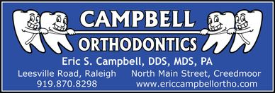 The Campbell Orthodontics logo, which has four teeth playing tug of war with floss.