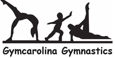The Gymcarolina Gymnastics logo, which has three gymnasts doing different tricks on a balance beam.