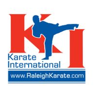 The Karate International logo, which shows a kid in blue kicking.
