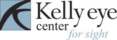 The Kelly Eye Center for Sight logo, which is black and light blue.