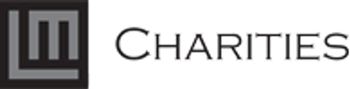 The LM Charities logo, which is in big black and grey block letters.