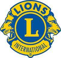 The Lions International logo, which has two yellow and blue lions.