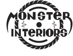 The Monster Interiors logo, which has a tire behind it.