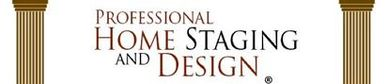The Professional Home Staging and Design logo, which has two Roman columns.