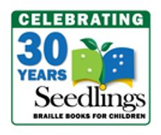 The Seedlings logo, which has a book with a stem.