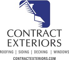 "The Contract Exteriors logo, which shows a roof and says ""roofing, siding, decking, windows."""