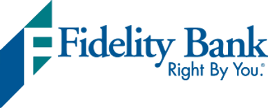 "The Fidelity Bank logo, which says ""Right by you"" underneath."