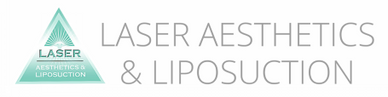 The Laser Aesthetics and Liposuction logo, which has a mint pyramid.
