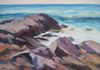 "Rock Forms, Surf, and Sea #4  12""x16"""
