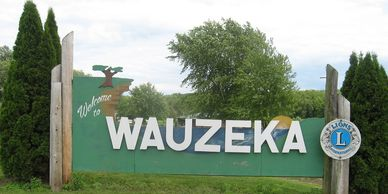The welcome sign of Wauzeka, Wisconsin