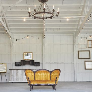 Inside the modern white barn wedding venue near me in central Ohio