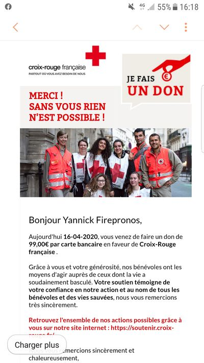 Firepronos Don aide aux associations / Don à la CROIX ROUGE