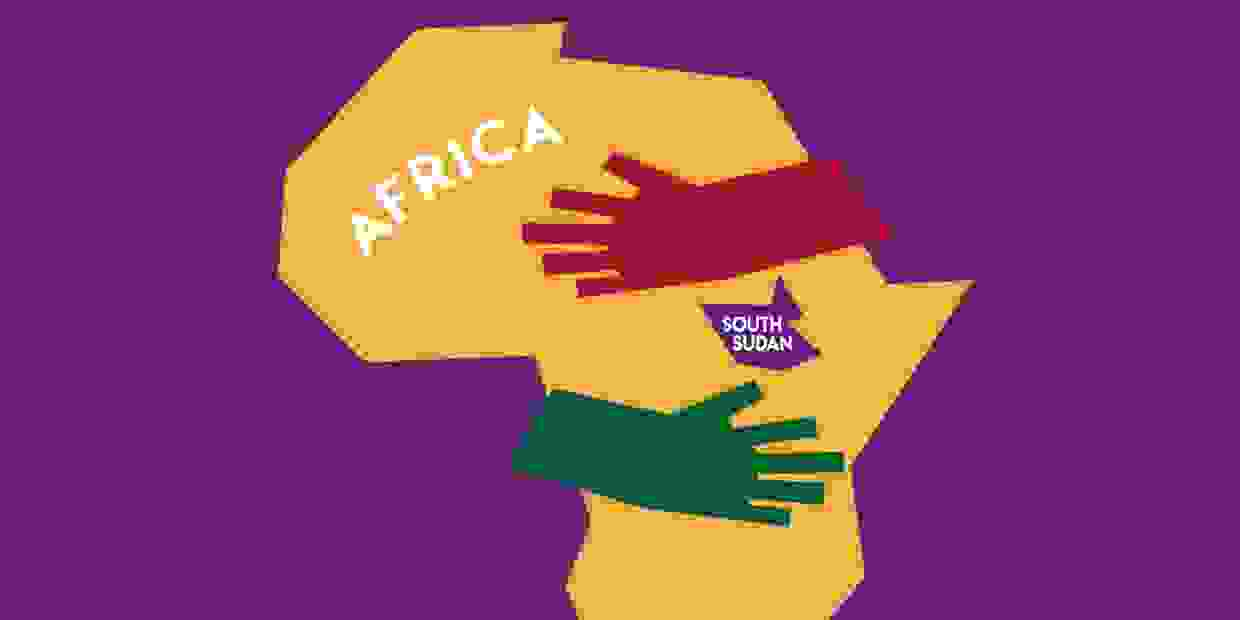 Graphic of Africa showing where South Sudan is—logo for nonprofit Helping Hands for South Sudan