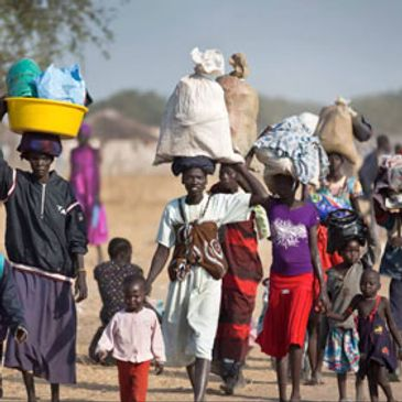 South Sudanese refugees walking
