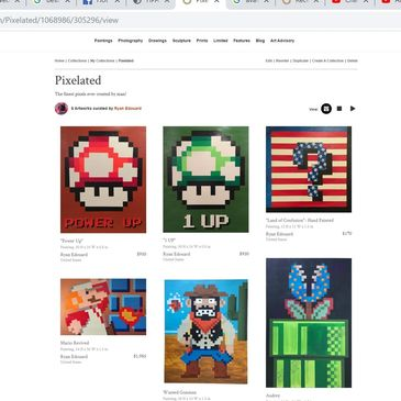 Nintendo Pixel Art Fine Pop Artwork paintings -Atari, 80's , gaming, video game, retro - Acrylic on Canvas- Man Cave original artwork- Super Mario Bros,, Video Games , Wild Gunman, 1 Up Mushroom, Excitebike, Kung Fu, Duck Hunt, Pitfall, Question Cubes, American flag tribute, Pixel plants and more.