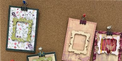 Mini wooden photo frames decorated with patterned paper, washi tape and tiny frame borders.