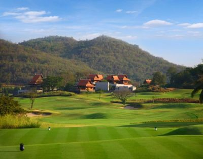 Tee hole 9 with clubhouse in the background. Golf Sea City guest house Hua Hin is 15 km away