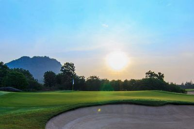 Great view of Imperial Lake View Golf Course at sunset. Golf Sea City Guest House Hua Hin is 22 km