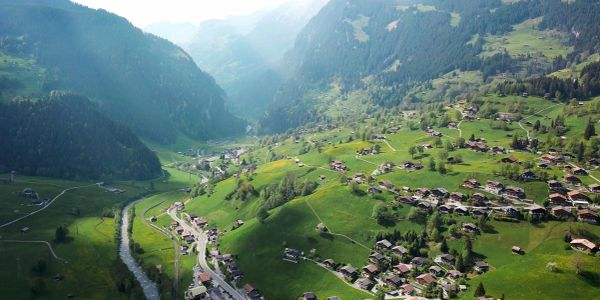 An aerial view above Grindelwald, looking west towards Schwendi. Walking tour of Grindelwald views.