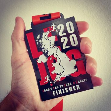 Raced Coaching Land's End to John O'Groats finisher medal from 2020.