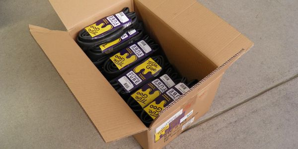 True Goo Products  Tubes protected by True Goo Tire Sealant ready for wholesale delivery.