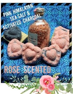 Handcrafted Rose hearts , Pink Himalayan sea salt & Activated charcoal. Three benefits in one bar!