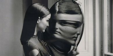 young girl with body dysmorphia looking at a distorted image in a mirror. .