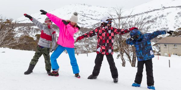 Kids outside Valhalla Ski Lodge Perisher