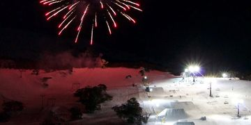 Night skiing and fireworks