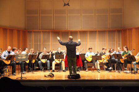 Directing the festival Guitar Orchestra at the 25th annual Northwest Guitar Festival.
