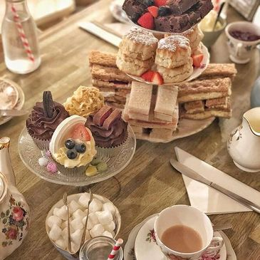 Traditional vintage afternoon tea served on original bone china