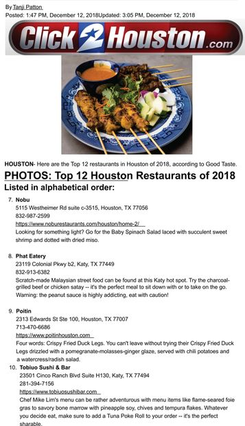 Channel 2-Click2houston top 12 Houston Restaurants of 2018