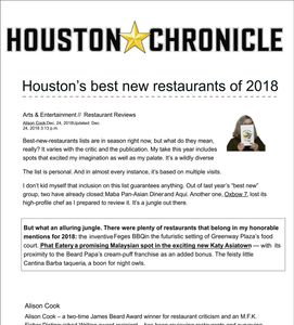 Houston Chronicle Houston best new restaurants of 2018- Alison Cook