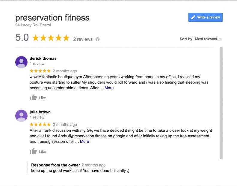 Google reviews for preservation fitness