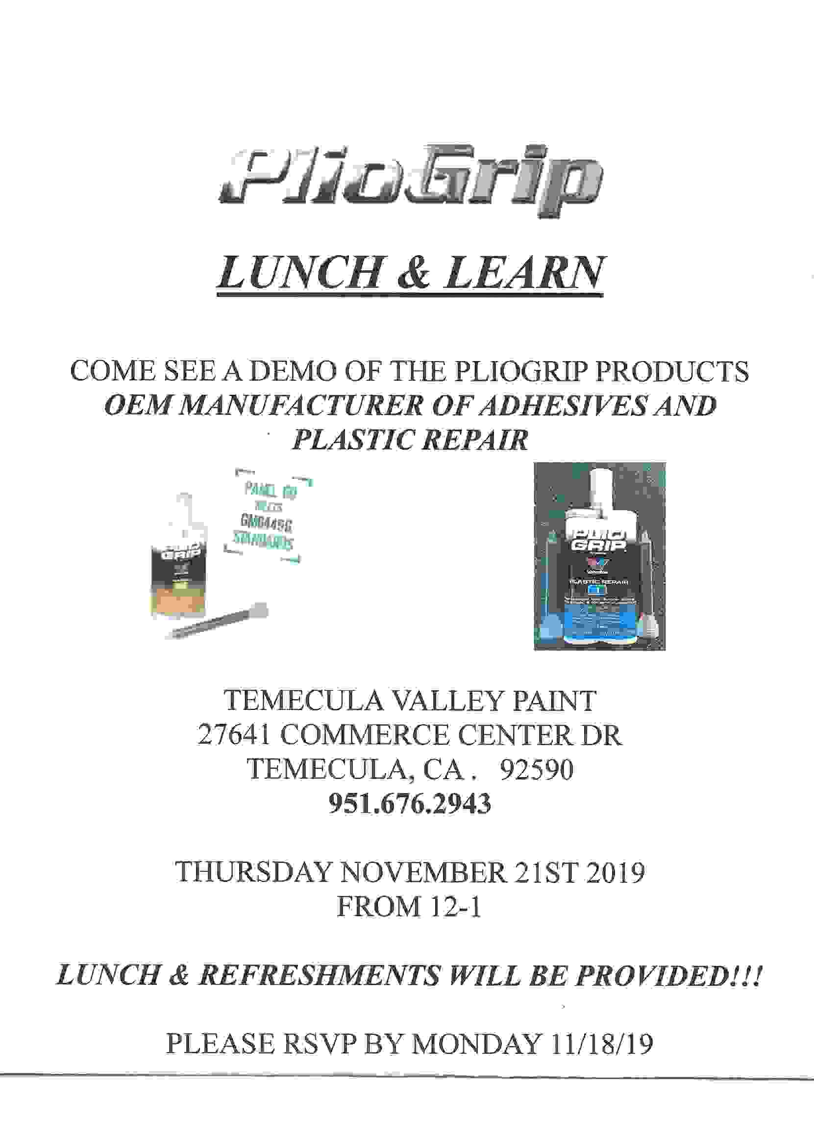 PlioGrip lunch and learn! Thursday November 21st. RSVP please.