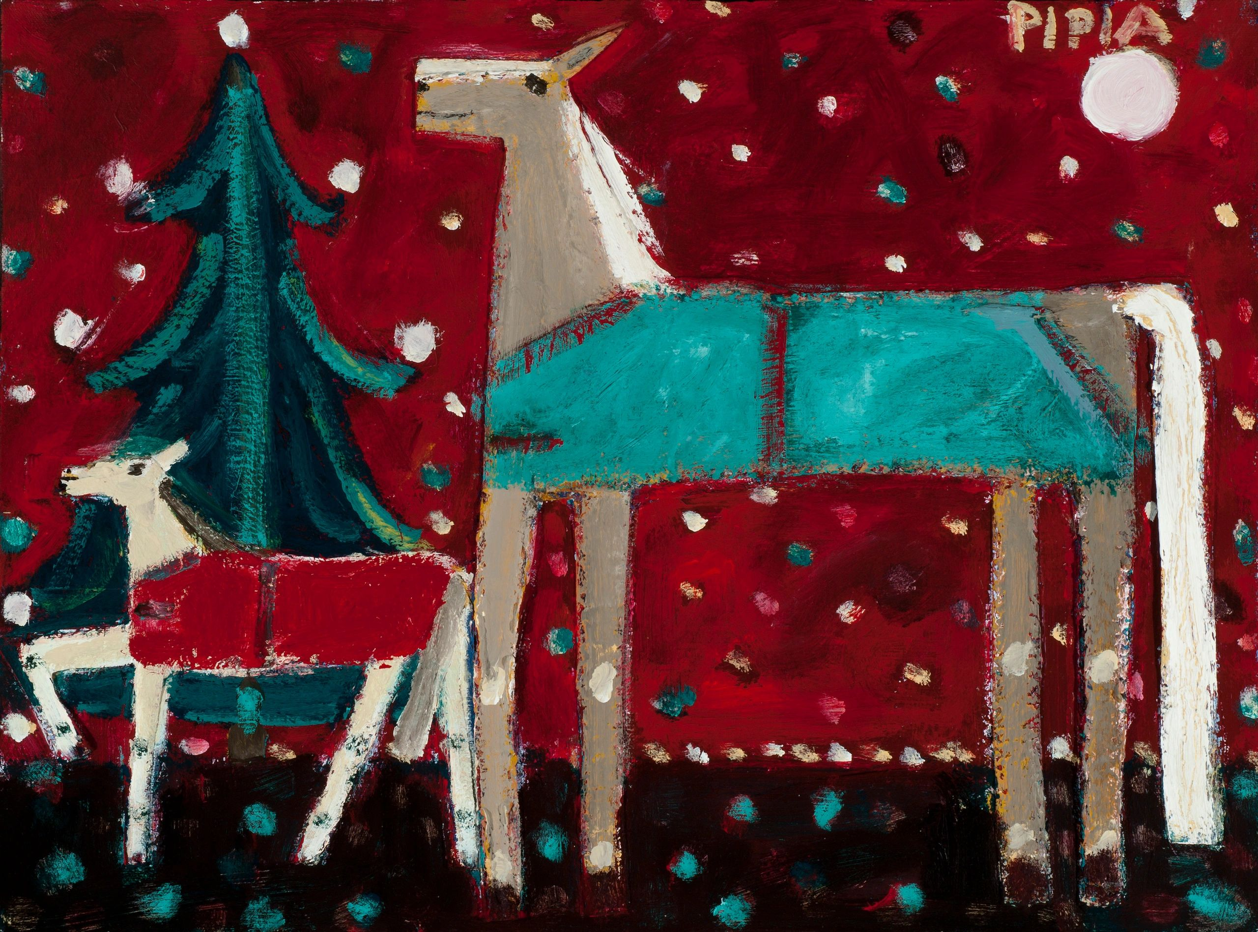 The Xmas Horse Arrives is a acrylic /canvas painting 18 x 24 x 1  1/2 construction.