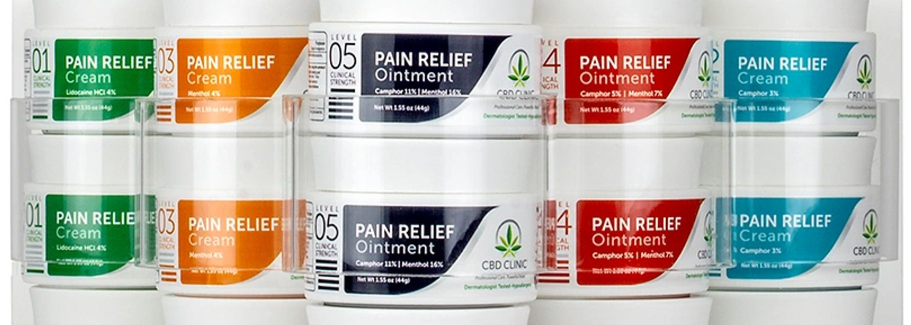 CBD pain relief ointment and cream levels 1 through 5.
