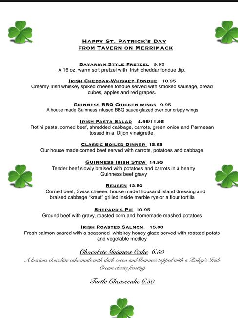 Special Irish menu starting Friday ends Tueday